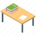 book table, desk, library table, study desk, study place icon