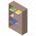 book cabinet, book rack, bookshelf, library book, rack icon