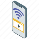 internet video, video website, web video, wifi signal, wireless connection icon