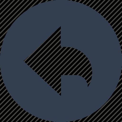 arrow, circle, communication, direction, left, round icon