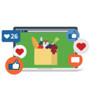 facebook, instagram, like, marketing, network, social media, store online icon