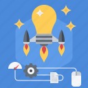 bulb, idea, innovation, innovative, invention, rocket, smart icon