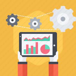 analytic, chart, graph, ipad, monitoring, sales, social icon