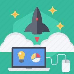 cloud, fly, launch, project, rocket, space, startup icon