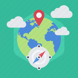 community, compass, map, navigation, place, social, world icon