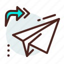 arrow, paper, plane, receive, send icon