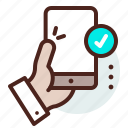 checkmark, hand, phone, touch icon