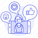 app, call, chat, comments, discussions, emoji, female, heart, like, media, phone, social, video, voicechat