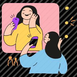selfie, social media, picture, phone, camera
