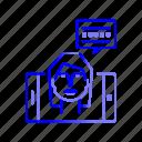 female, mobile, podcast, status, update, video icon
