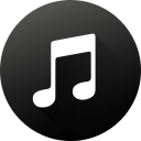black white, circle, high quality, itunes, long shadow, media, social media icon
