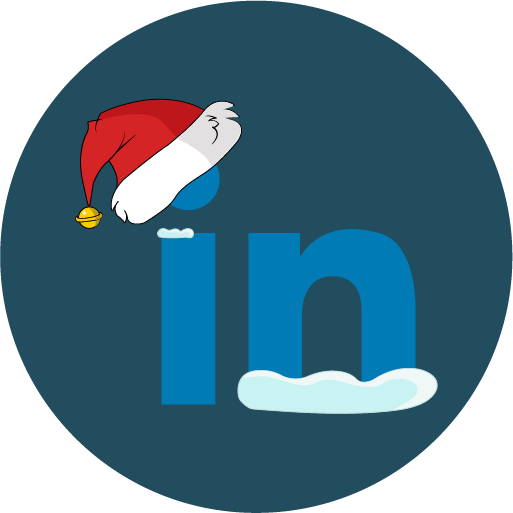 christmas, linkedin, snow, social icon