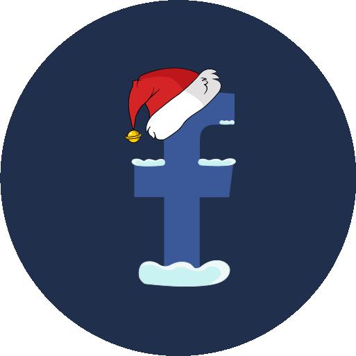 christmas, facebook, snow, social icon