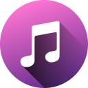 circle, high quality, itunes, long shadow, media, social, social media icon