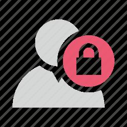 block, lock, user icon