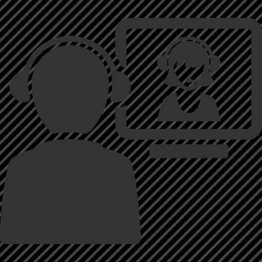call center, interview, teamwork, video call icon