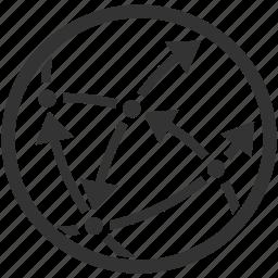 global communication, globe, network icon