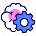 brain, brainstorm, cogwheel, gear