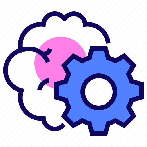 brain, brainstorm, cogwheel, gear icon