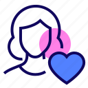 female, heart, like, user icon