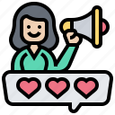 advocate, brand, promote, review, satisfaction icon