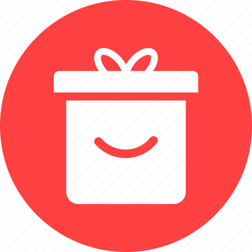 circle, gift, gift box, present, present box, red, wrapped gift icon