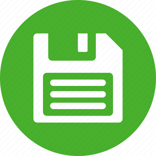 backup, disk, diskette, download, drive, floppy, green icon