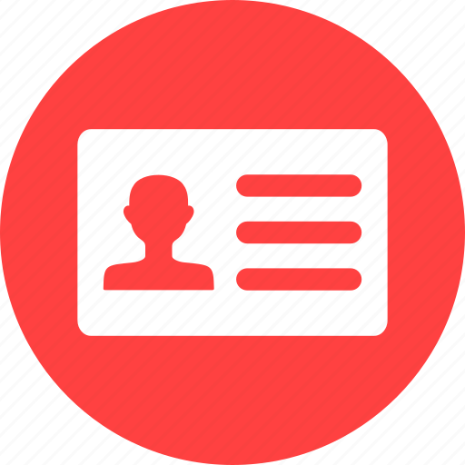 card, driver's, drivers, id, identification, identity, red icon