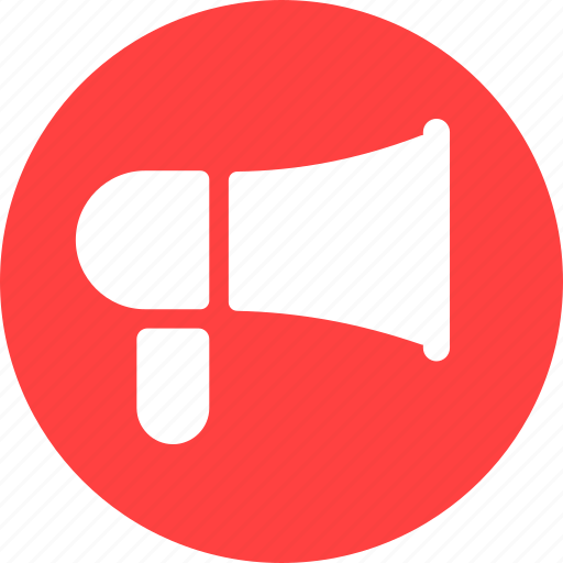 advertise, advertisement, advertising, announcement, circle, red icon