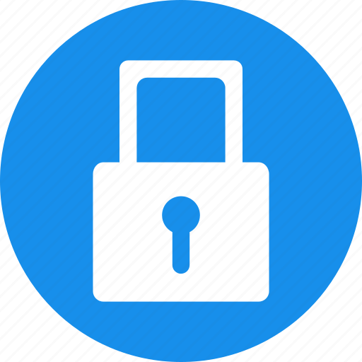 blue, lock, locked, password, privacy, protected icon