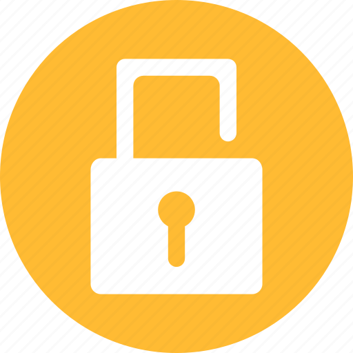 lock, locked, password, privacy, protected, unlock, yellow icon