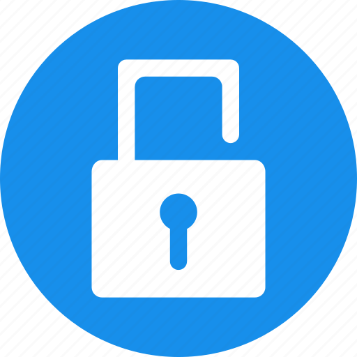 blue, lock, locked, password, privacy, protected, unlock icon