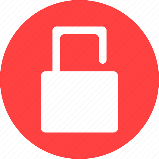 lock, locked, password, privacy, protected, red, unlock icon