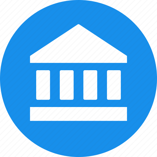 bank, blue, court, finance, financial, institution, stock market icon