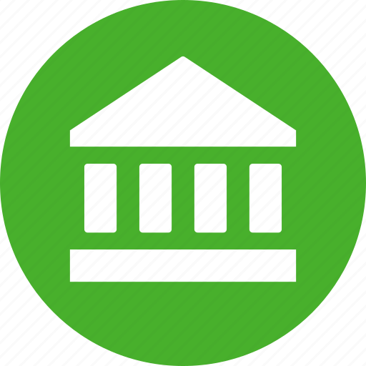 bank, court, finance, financial, green, institution, stock market icon