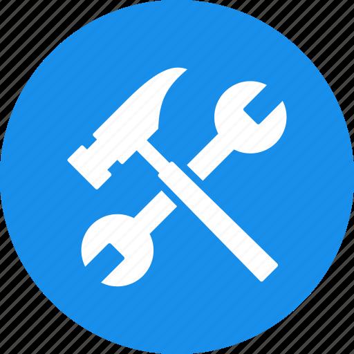 blue, build, diy, hammer, project, repair, settings icon