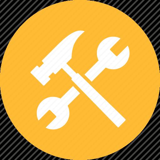 build, diy, hammer, project, repair, settings, yellow icon