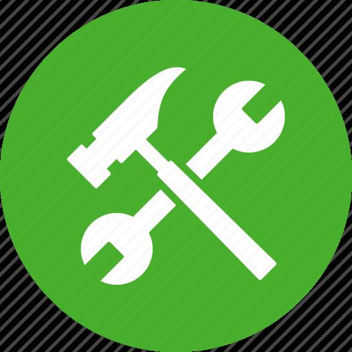 build, diy, green, hammer, project, repair, settings icon