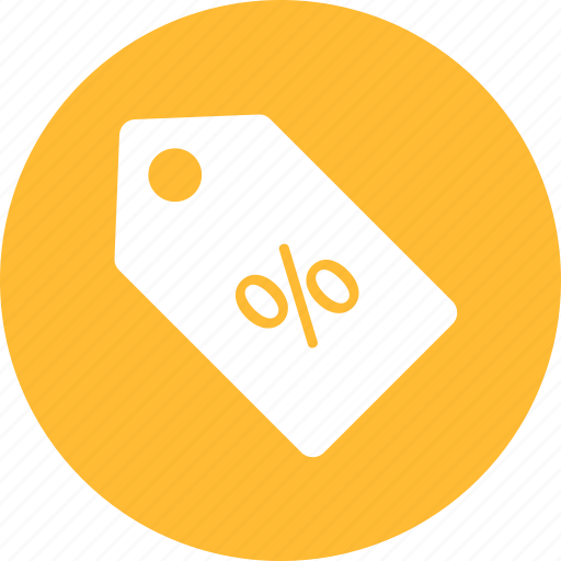 bargain, discount, off, price cut, sale, shopping, yellow icon