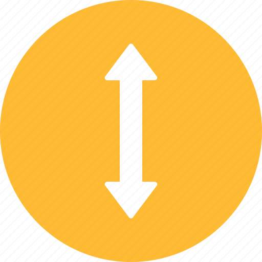 arrow, direction, distance, down, height, move, yellow icon