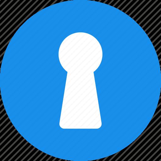 access, circle, door, hole, key, keyhole, password icon