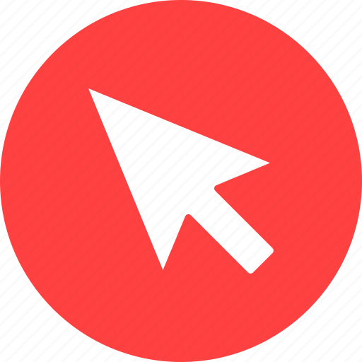 arrow, click, cursor, interactive, mouse, point, red icon