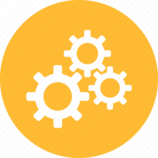 cogs, configuration, corporation, gears, preferences, yellow icon