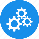 blue, cogs, configuration, corporation, gears, preferences icon