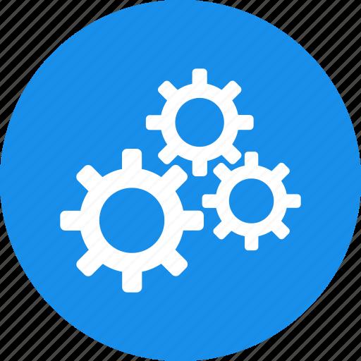 blue, cogs, configuration, corporation, gears, preferences icon