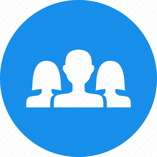 blue, circle, community, friends, group, networking icon