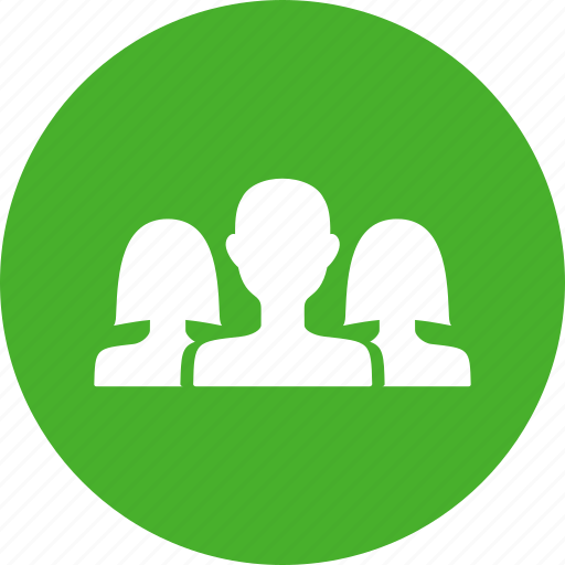 circle, community, friends, green, group, networking icon