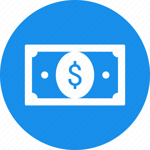 banknote, bill, blue, cash, currency, dollar, money icon