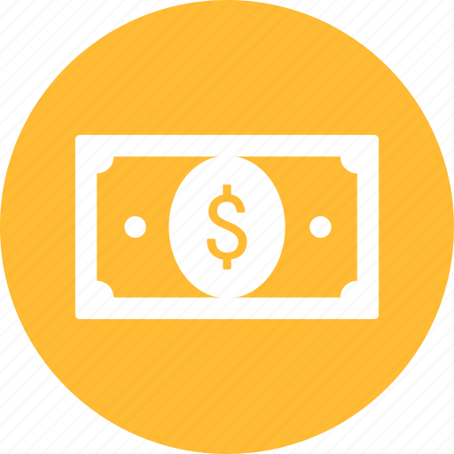 banknote, bill, cash, currency, dollar, money, yellow icon