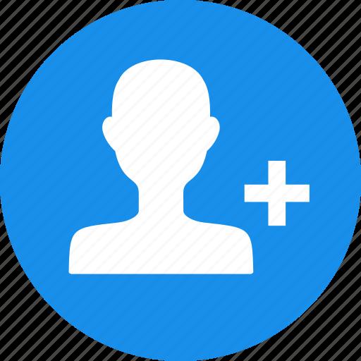 account, add, blue, contact, create, friend, new icon